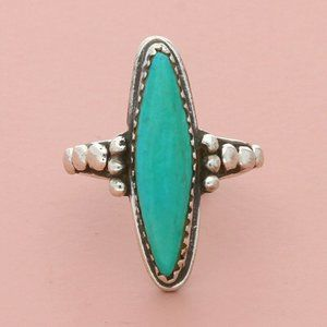 navajo sterling silver elongated turquoise ring